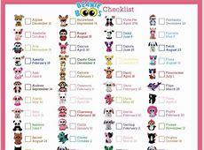 Beanie Boo Checklist Instant Download 8 x 105
