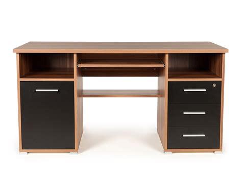 meuble pour ordinateur de bureau bureau informatique avec caisson tiroirs niches en bois