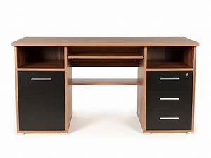 Meuble Bureau Design : bureau informatique avec caisson tiroirs niches en bois ~ Melissatoandfro.com Idées de Décoration