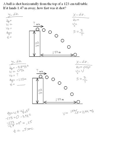 worksheets projectile motion worksheet with answers