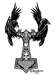 Image result for mjolnir + raven   trib tattoo   Mythology tattoos, Norse tattoo, Viking tattoo