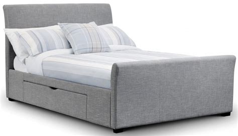 Grey Fabric Bed With Mattress by Rome Light Grey Linen Bed Frame With Drawers Sensation