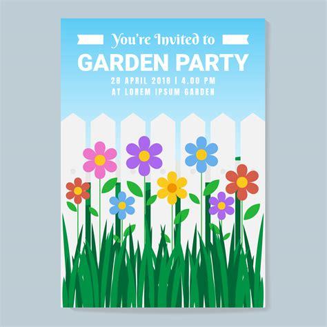 vector garden party invitation  flowers illustration