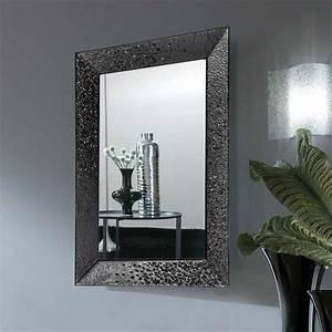 Miroir De Salon : miroir salle de bain 98x70 cm cadre verre noir c line ~ Teatrodelosmanantiales.com Idées de Décoration