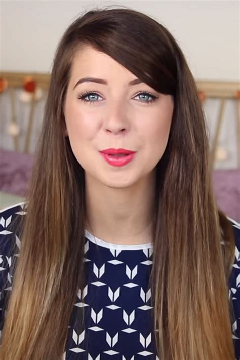 zoella straight medium brown flat ironed ombre hairstyle
