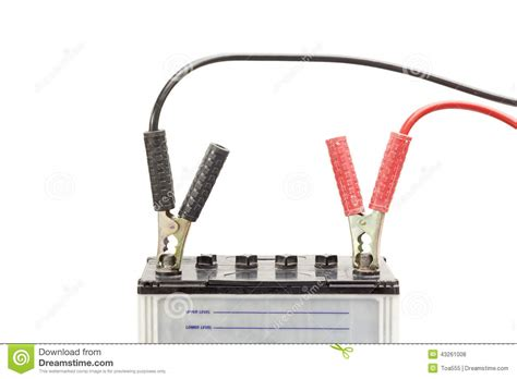 Car Battery With Jumper Cables Stock Photo