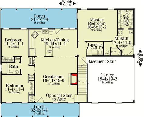 split ranch floor plans split bedroom country ranch 62099v 1st floor master
