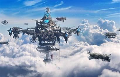 Steampunk Concept Fantasy Airship Ship Sky Airships