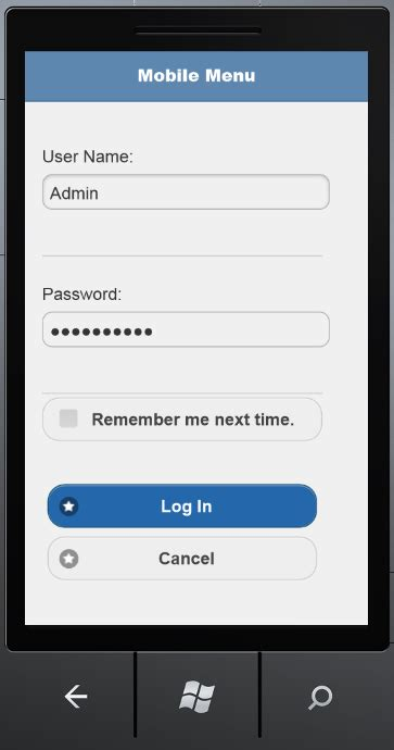 jquery mobile login template lightswitch help website gt a crud lightswitch jquery mobile application
