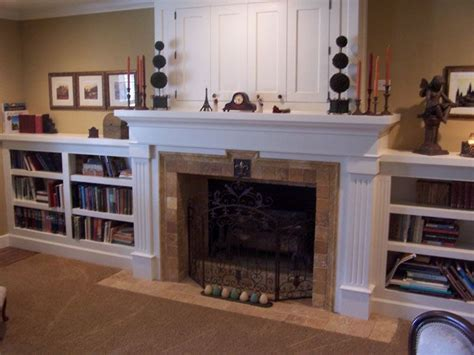 Matching Bookshelves by Image Detail For White Fireplace Surround With Matching