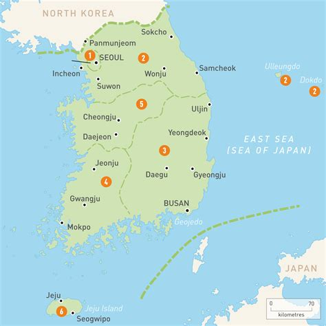map  south korea south korea regions rough guides