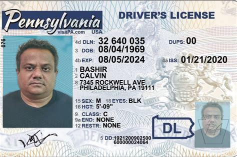 pennsylvania driver license template