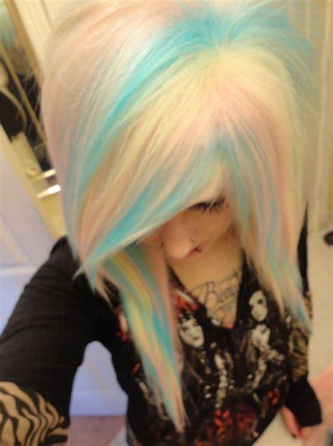 Rainbow Pastel Blue Pink Blonde White Wig Emo Girl Scene
