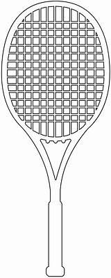 Racket Tennis Silhouette Kleurplaat Vector Outline Silhouettes Svg sketch template