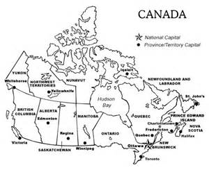 Printable Map of Canada Provinces and Territories