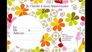 Invitation Anniversaire Fille 9 Ans : carte invitation anniversaire gratuites imprimer youtube ~ Melissatoandfro.com Idées de Décoration
