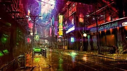 Cyberpunk 4k Neon Futuristic Street Digital Wallpapers