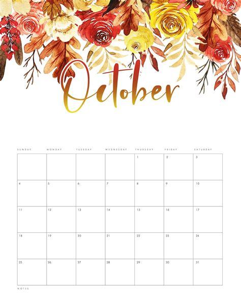 Cute October 2020 Calendar Pink Designs Floral Wall Calendar