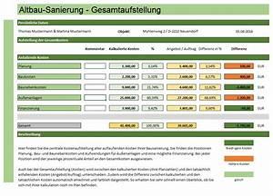 Altbausanierung Kosten Tabelle : altbausanierung excelberechnung jetzt zum sofort download ~ Michelbontemps.com Haus und Dekorationen