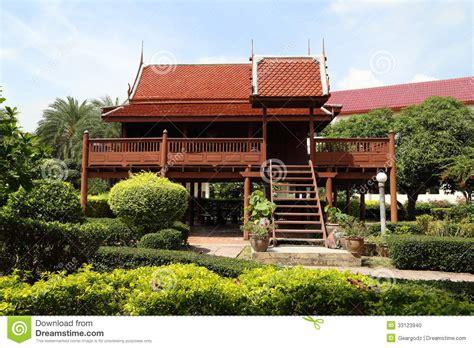 thai style wooden house stock photo image