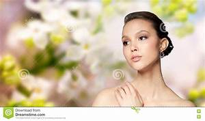 Close Up Of Beautiful Woman Face With Earring Stock Image ...