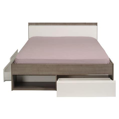 lit adulte avec tiroirs 140x200cm quot choozy quot noyer
