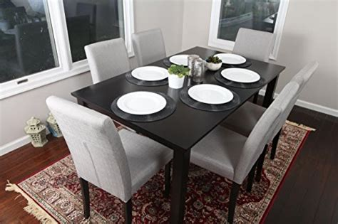 7 pc linen 6 person table and chairs brown dining dinette