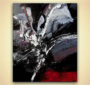 Big modern abstract Art heavy impasto black white red ...