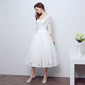 high quality ivory white vintage strapless lace tea length With plus size lace tea length wedding dresses