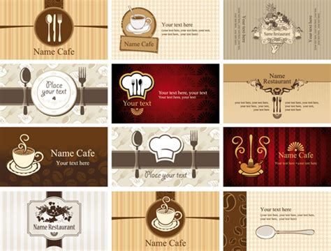 Set Of Restaurant & Cafe Cards Vectot 01 Leather Business Card Holder Personalized India Pocket Staples Flip Top Metal Icon Eps Sculpture American Express Gift Security Code Apec Indonesia Visiting Images Background