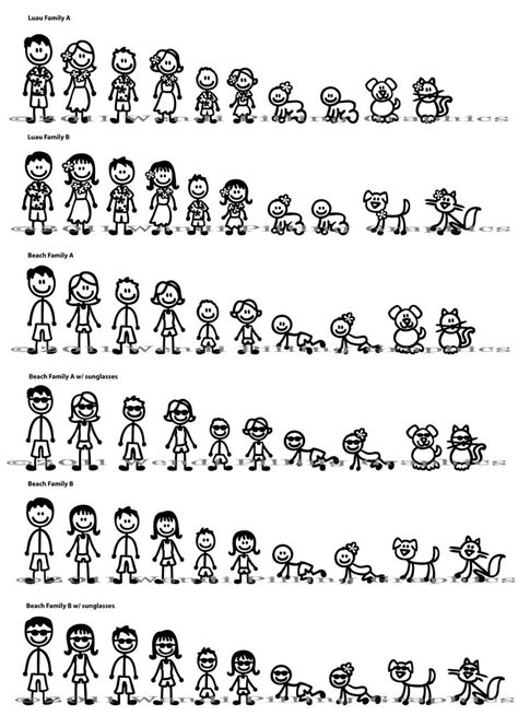 Stick Figure Family Window Decals | Stick figure family