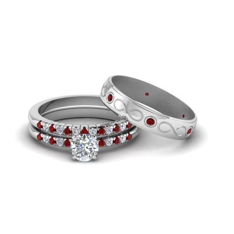 cut diamond trio matching wedding for him and with ruby in 18k white gold