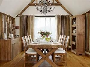 meubles bois massif et decoration de style rustique moderne With deco cuisine avec meuble de salle a manger en bois massif