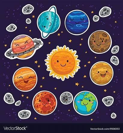 Solar System Planets Cartoon Vectorstock Vector Planet