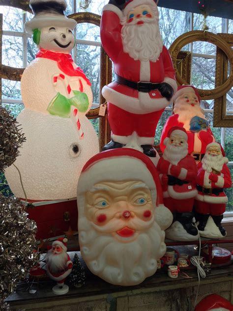 vintage blow mold christmas decorations santa   lit
