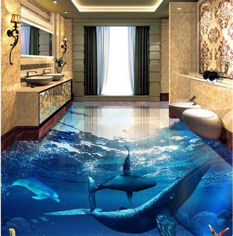 3d Wall Mural Flooring Ocean Dolphin Photo Wallpaper Mural