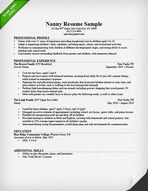 Professional Nanny Resume by Nanny Resume Business Template