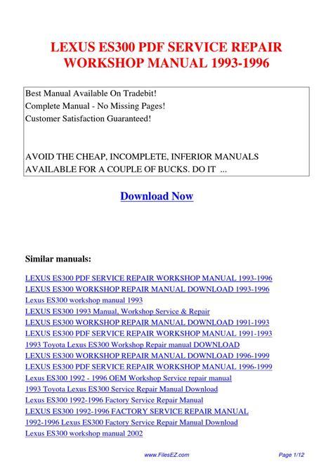 auto repair manual online 1993 lexus es head up display lexus es300 service repair workshop manual 1993 1996 by yang rong issuu