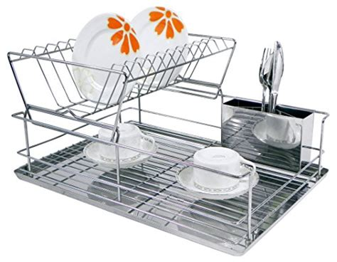 home basics 2 tier dish rack home basics dr30245 2 tier steel dish rack with removable