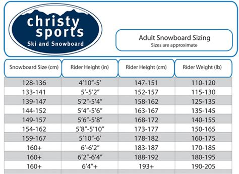 snowboard size charts  men women  kids