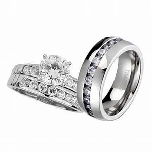 His and hers wedding rings 3 pcs engagement cz sterling for Titanium wedding rings his and hers