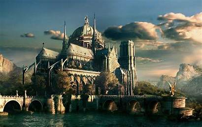 Fantasy Castle Digital Wallpapers Cathedral Drawing Sky