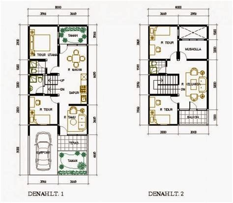 gambar denah rumah minimalis type   lantai