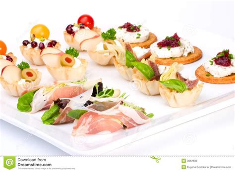 fresh canapes tray of fresh canapes royalty free stock photos