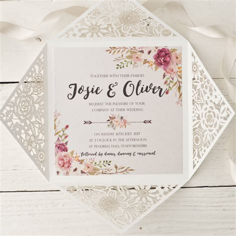 peony floral design laser cut wedding invitation by wolfe paper co notonthehighstreet com