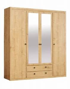 Armoire A Tiroir : armoire 4 portes 2 tiroirs indigo chambre a coucher chene ~ Edinachiropracticcenter.com Idées de Décoration