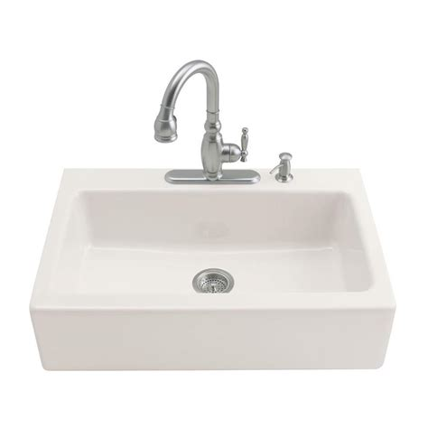 three basin kitchen sink shop kohler dickinson 22 12 in x 33 in biscuit single 6104