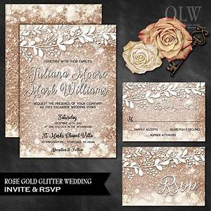 rose gold wedding invite and rsvp card rose gold wedding With diy wedding invitations with glitter