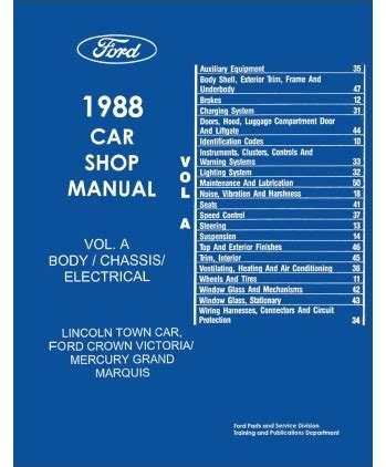car engine repair manual 1988 lincoln town car engine control 1988 ford crown victoria lincoln town car mercury grand marquis body chassis electrical