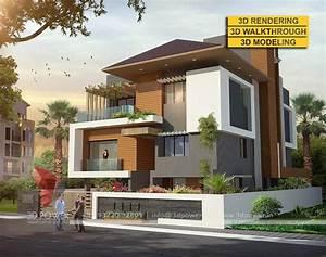 Stunning 3D Ultra Modern Villa Day Rendering And Elevation